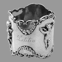 Large Cherub Napkin Ring Shreve Sterling Silver Mono Letitia
