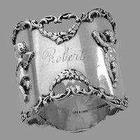Large Cherub Napkin Ring Shreve Sterling Silver Mono Robert