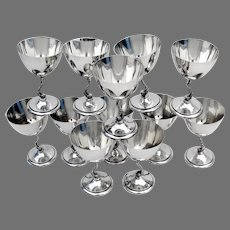 12 Dolphin Martini Wine Goblets Set Tuttle Sterling Silver 1945