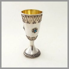 Israeli Ornate Shot Cup Gilt Interior Stanetzky Sterling Silver