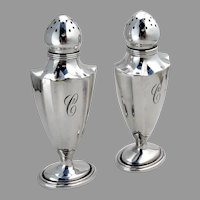 Plymouth Salt Pepper Shakers Set Gorham Sterling Silver Mono C