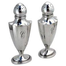 Plymouth Salt Pepper Shakers Set Gorham Sterling Silver Mono C