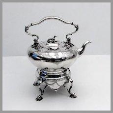 Tea Kettle Stand Set Hound Finial John Moore Sterling Silver 1845 Mono B