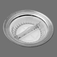 Etched Glass Sectional Bowl Sterling Silver Border Gorham 1933