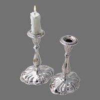 Acanthus Leaf Design Candlesticks Pair Sterling Silver