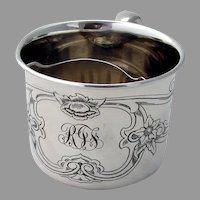 Acid Etched Floral Shaving Mug Gorham Sterling Silver Mono RJF