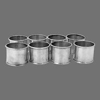 Wide Plain 8 Napkin Rings Set Sterling Silver Mexico No Mono