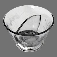 Sectional Bowl Etched Glass Body Sterling Silver Foot