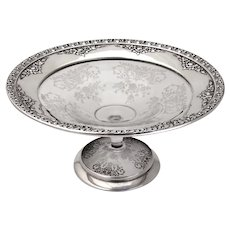 Normandie Footed Bowl Etched Crystal Wallace Sterling Silver 1938