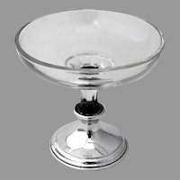 Footed Ice Cream Bowl Glass Body Watson Sterling Silver