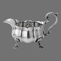 Gravy Boat Shell Motif Feet Sterling Silver Mono S