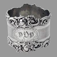 English Ornate Napkin Ring Colen Cheshire Sterling Silver 1907 Mono DDD