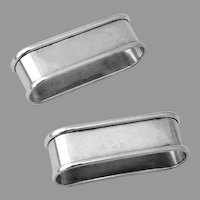 Oval Plain Napkin Rings Pair Gorham Sterling Silver No Mono