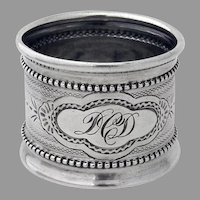 Engine Turned Beaded Napkin Ring Coin Silver Mono DCD