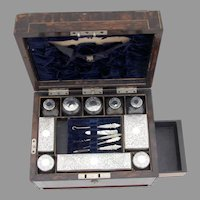 English Victorian Boxed Traveling Dresser Set Sterling Silver Mono 1860