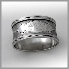 Engine Turned Oval Napkin Ring Coin Silver Mono SSK 1868