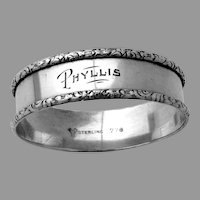 Lunt Napkin Ring  Floral Scroll Rim Sterling Silver Mono Phyllis