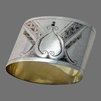 Russian Engraved Oval Napkin Ring 84 Standard Silver No Mono