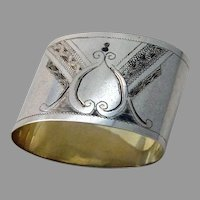 Russian Engraved Oval Napkin Ring 84 Standard Silver No Mono