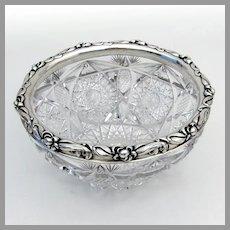 Art Nouveau Gorham Cut Glass Bowl Applied Floral Border Sterling Silver