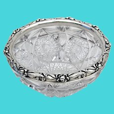 Art Nouveau Gorham Cut Glass Bowl Applied Floral Border Sterling Silver