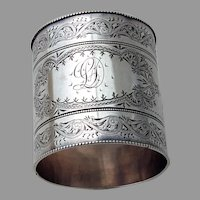 Aesthetic Engraved Large Napkin Ring Shiebler Sterling Silver Mono SD