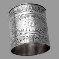Aesthetic Engraved Large Napkin Ring Shiebler Sterling Silver Mono DMD