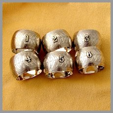 6 Napkin Rings Set Silver Plated Applied Numbers