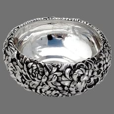 Japanese Meiji Silver Chrysanthemum Bowl High Relief Double Wall