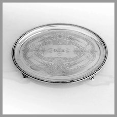 Oval Footed Tray Wood Hughes Coin Silver 1870s Mono Howell
