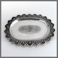 Ornate Oval Tray Buddha Floral Designs Cambodian 900 Silver