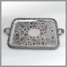 Bird Floral Engraved Large Tea Tray Sheffield Silverplate 1830