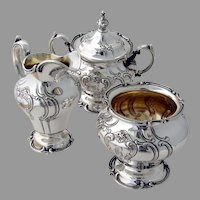 Chantilly Duchess Creamer Sugar Bowl Waste Bowl Gorham Sterling 1944 Mono B