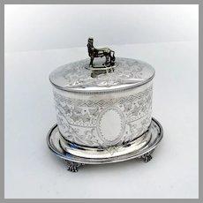 Assyrian Revival Biscuit Box Lamassu Finial Hukin Heath Silverplate 1880