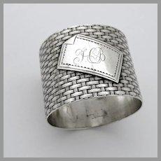 Basket Weave Design Napkin Ring Coin Silver Mono HB