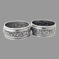 Banded Floral Napkin Rings Pair Weidlich Sterling Silver