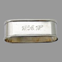 Oval Napkin Ring Blackinton Sterling Silver Mono WAW
