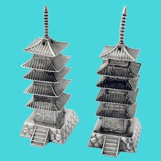 Japanese Pagoda Form Salt Pepper Shakers Pair Sterling Silver