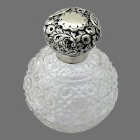 English Perfume Bottle Cut Crystal Sterling Silver Top 1911