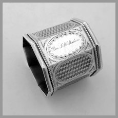 Large Octagonal Napkin Ring Engine Turned Coin Silver Mono
