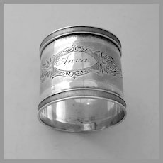 Engraved Napkin Ring Milled Borders Coin Silver Mono Anna