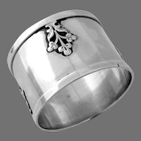 French Napkin Ring Applied Decorations Sterling Silver No Mono