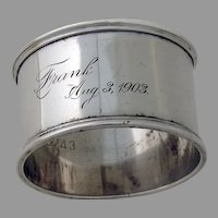 Towle Napkin Ring Applied Borders Sterling Silver Mono Frank 1903