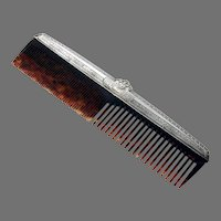 Engine Turned Comb International Sterling Silver Mono TGH