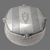 Glass Dresser Jar Sterling Silver Lid International Mono THG
