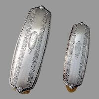 Clothes Brushes Pair International Sterling Silver Mono THG