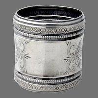 Engraved Napkin Ring Ornate Beaded Borders Coin Silver No Mono