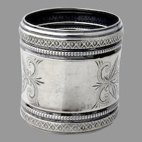 Engraved Napkin Ring Ornate Beaded Borders Coin Silver No Mono
