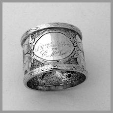 Ornate Napkin Ring Foliate Vine Chased Design Coin Silver Mono