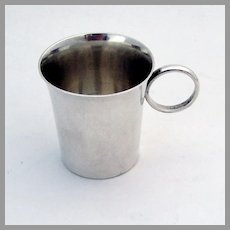Small Plain Shot Cup Ring Handle Kirk Son Sterling Silver No Mono